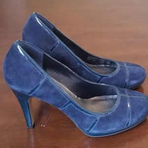 Navy Suade & Patent Leather Heels